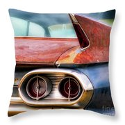 1961 Cadillac Tail Light And Fin Throw Pillow