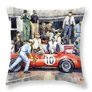 1961 Le Mans 1961 Ferrari 250 Tri Olivier Gendebien Phil Hill Winner  Throw Pillow