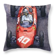 1962 Monaco Gp Willy Mairesse Ferrari 156 Sharknose Throw Pillow