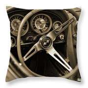1963 Chevrolet Corvette Steering Wheel - Sepia Throw Pillow