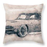 1963 Chevrolet Corvette Sting Ray - 1963 - Automotive Art - Car Posters Throw Pillow