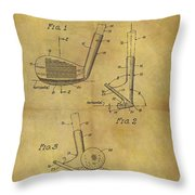 1963 Sand Wedge Patent Throw Pillow