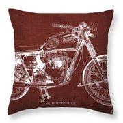 1963 Triumph Bonneville, Blueprint Red Background Throw Pillow