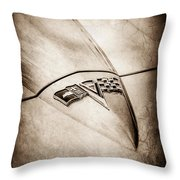 1964 Chevrolet Corvette Sting Ray Gm Styling Coupe Hood Emblem -0111s Throw Pillow