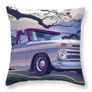 1964 Chevrolet Short Bed Custom Half Ton In The Morning Mist Throw Pillow