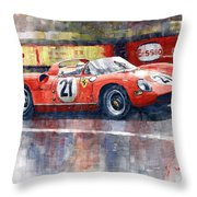 1964 Lemans 24 Ferrari 275p Ludovico Scarfiotti  Throw Pillow