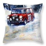 1964 Rallye Monte Carlo Mini Cooper S Hopkirk Liddon Winner Throw Pillow