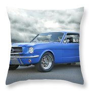 1965 Ford Mustang 'blue Coupe' IIa Throw Pillow