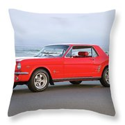 1965 Ford Mustang 'red Coupe' II Throw Pillow