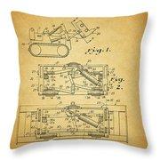 1966 Bulldozer Patent Throw Pillow