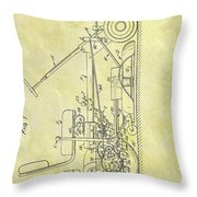 1966 Riding Mower Patent Throw Pillow