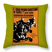 1967 Barcelona Kart Racing Poster Throw Pillow