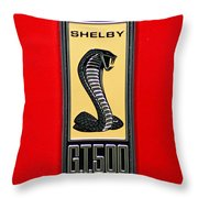 1967 Ford Shelby Gt 500 Cobra Fender Emblem On Red Throw Pillow