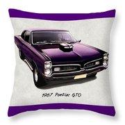 1967 Purple Pontiac Gto Throw Pillow