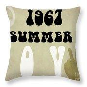 1967 Summer Of Love Newspaper Throw Pillow