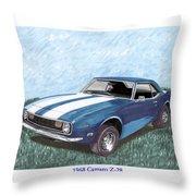 1968 Chevrolet Camaro Z 28 Throw Pillow