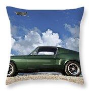 1968 Ford Bullitt Mustang Gt 390 Fastback, P-51 Mustang, Plymouth Rock Chicken Throw Pillow