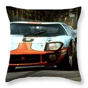 1969 24 Hours Of Le Mans Ford Gt40 First Place, Mixed Media  Throw Pillow