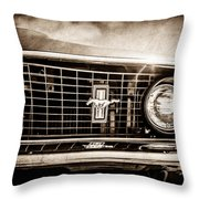 1969 Ford Mustang Grille Emblem -0129s Throw Pillow