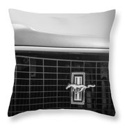 1969 Ford Mustang Grille Emblem -0133bw Throw Pillow