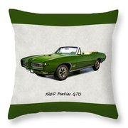 1969 Green Pontiac Gto Convertible Throw Pillow