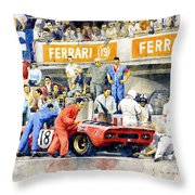 1969 Le Mans 24 Ferrari 312p Pedro Rodriguez  David Piper Throw Pillow