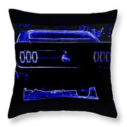 1969 Mustang In Neon 2 Throw Pillow
