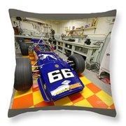 1969 Penske Indy Car In Garage Throw Pillow
