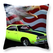 1969 Plymouth Road Runner Tribute Throw Pillow by Peter Piatt