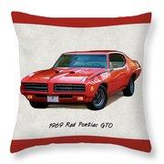 1969 Red Pontiac Gto The Judge Throw Pillow