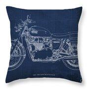 1969 Triumph Bonneville Blueprint Blue Background Throw Pillow