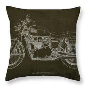 1969 Triumph Bonneville Blueprint Brown Background Throw Pillow