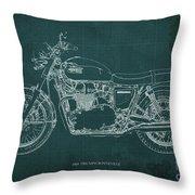 1969 Triumph Bonneville Blueprint Green Background Throw Pillow