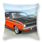 1970 Barracuda Aar  Cuda Classic Muscle Car Throw Pillow