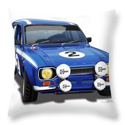 1970 Ford Escort Mexico Illustration Throw Pillow