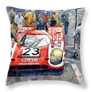 1970 Le Mans 24 Porsche917k Attwood Herrmann Winner  Throw Pillow
