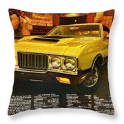 1970 Oldsmobile Cutlass 442 W-30 Throw Pillow