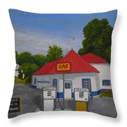 1970s Gas Station Throw Pillow