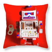 1970s Wind Up Dancing Robot Throw Pillow