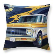 1971 Chevrolet C10 Cheyenne Fleetside 2wd Pickup Throw Pillow