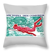 1972 Comoro Islands Spearfishing Postage Stamp Throw Pillow