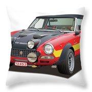 1972 Fiat Abarth 124 Rally Illustration Throw Pillow