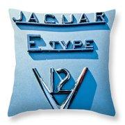 1972 Jaguar E-type V12 Roadster Emblem Throw Pillow