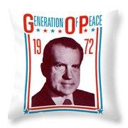 1972 Nixon Presidential Campaign Throw Pillow