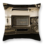 1972 Olds 442 - Sepia Throw Pillow