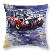 1972 Rallye Monte Carlo Lancia Fulvia 1600hf Munari Mannucci Winner Throw Pillow