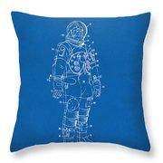 1973 Astronaut Space Suit Patent Artwork - Blueprint Throw Pillow
