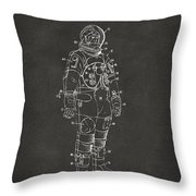 1973 Astronaut Space Suit Patent Artwork - Gray Throw Pillow by Nikki Marie Smith