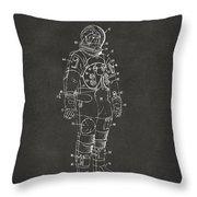 1973 Astronaut Space Suit Patent Artwork - Gray Throw Pillow