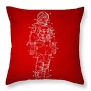 1973 Astronaut Space Suit Patent Artwork - Red Throw Pillow by Nikki Marie Smith